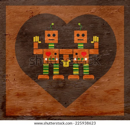 valentines robot design with wood grain texture - stock photo