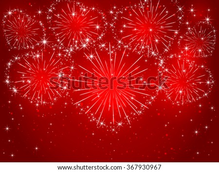 Valentines sparkling fireworks in the form of hearts on red shiny background, illustration. - stock photo