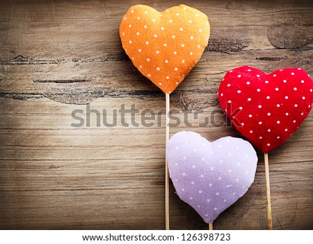 Valentines Vintage Handmade Hearts over Wooden Background. Valentine over Wood. Retro Styled Wallpaper. Valentines Day - stock photo
