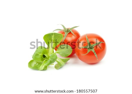 Valerianella locusta, corn salad, cherry tomato, lamb's lettuce isolated on white background - stock photo
