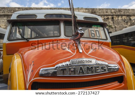 VALETTA/MALTA 18TH OCTOBER 2006 - The iconic old British buses that still operate in Malta - stock photo