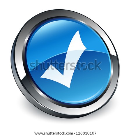 Validate icon 3d blue button - stock photo