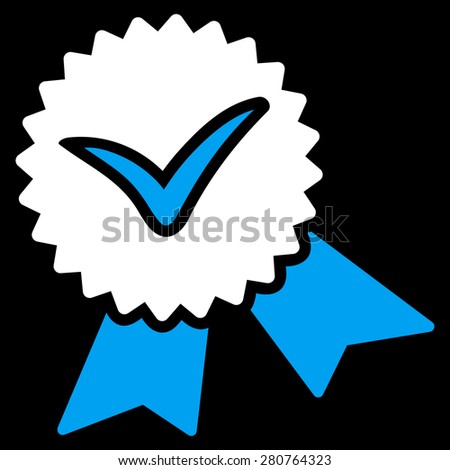 Validation seal icon from Competition & Success Bicolor Icon Set on a black background. This isolated flat symbol uses light blue and white colors. - stock photo