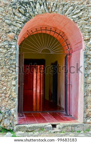 Valladolid, Mexico - Convent de San Bernardino de Siena - door - stock photo