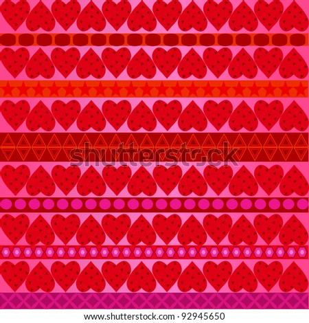 vallentines row pattern over pink background - stock photo