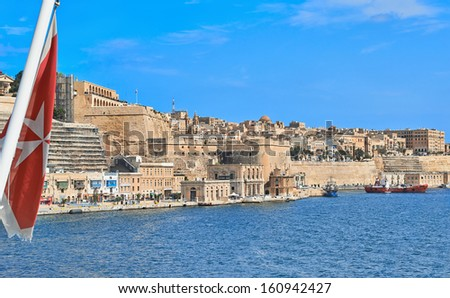 Valletta, Malta - SEPTEMBER 11, 2013: View from ship to Valletta, Malta. Malta is a southern European country in the Mediterranean Sea 80 km south of Sicily. - stock photo