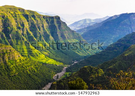 Valley among the mountains in Ethiopia - stock photo