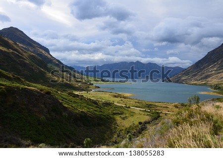 valley and lake - stock photo