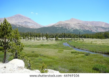 Valley and Mountain Scenery in Yosemite National Park - stock photo