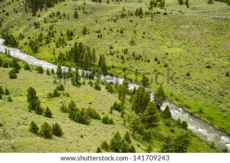Valley and the River. Aerial Photography of Beautiful Wyoming Valley. Wyoming Photography Collection. - stock photo