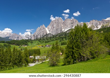 valley and village in Dolomiti mountains - Italy - stock photo