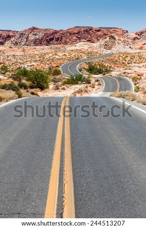 Valley of Fire Street - stock photo
