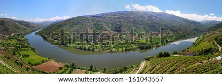 Valley of river Douro with vineyards near Mesao Frio (Portugal) - panoramic view - stock photo