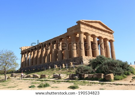 Valley of Temples in Agrigento, unesco world heritage in Sicily, Italy  - stock photo