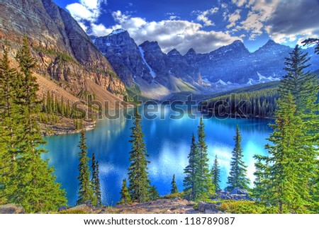 Valley of the Ten Peaks and Moraine Lake, Banff, Canadian Rockies - stock photo