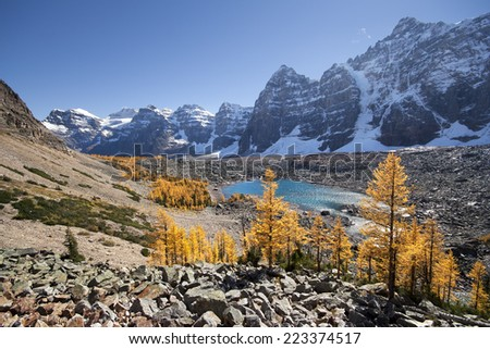 Valley of the Ten Peaks & Eiffel Lake, Banff National Park, Lake Louise, Alberta, Canada.  Start Point for this hike is Moraine Lake.  - stock photo