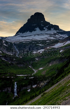 Valley off The Going to The Sun Road Glacier National Park Montana. - stock photo