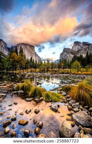 Valley View Yosemite National Park - stock photo