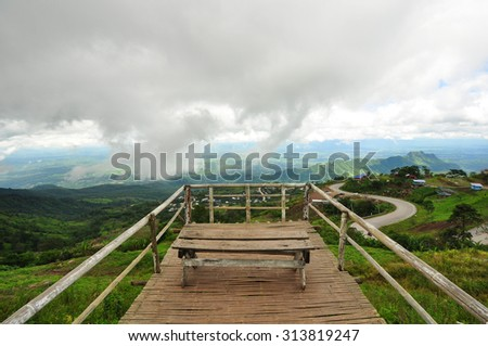 valley with mountains from view point - stock photo