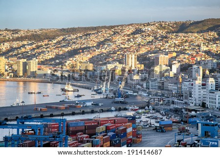 VALPARAISO, CHILE - AUGUST 9: View on the one of the chilean most important seaports on August 9, 2010 in Valparaiso, Chile - stock photo