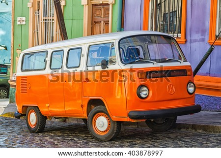 VALPARAISO, CHILE - FEBRUARY 10: VW transporter T2 parked in Valparaiso, Chile on February 10, 2015. The famous mini bus was manufactured for almost 64 years in 1949-2013. - stock photo