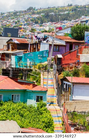 VALPARAISO - NOVEMBER 07: Colourful houses in different districts of the protected UNESCO World Heritage Site of Valparaiso on November 7, 2015 in Valparaiso, Chile - stock photo