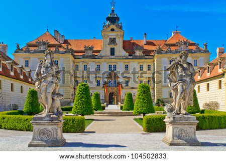 Valtice is one of the most impressive baroque residences of Central Europe. It was built for the princes of Liechtenstein by Johann Bernhard Fischer von Erlach in the early 18th century. - stock photo