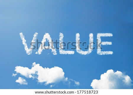 VALUE cloud word on sky - stock photo