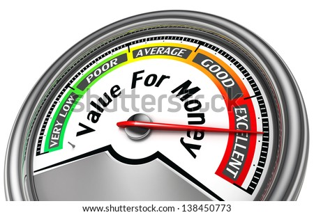 value for money conceptual meter isolated - stock photo