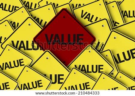 Value written on multiple road sign  - stock photo