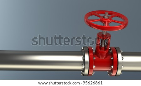 valve on pipeline close up - stock photo