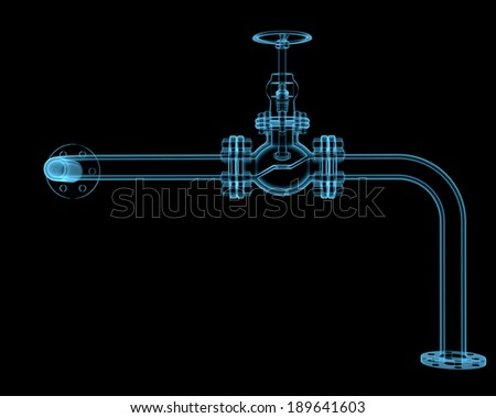 Valve x-ray blue transparent isolated on black - stock photo