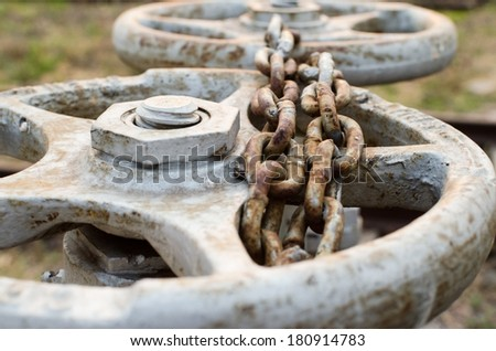 valves , Valves chained - stock photo