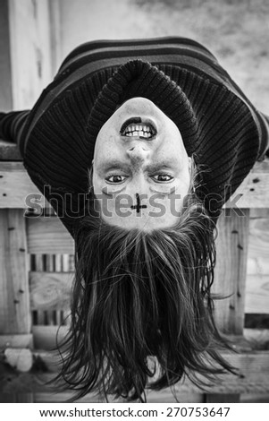 Vampire girl in urban street, fear and crazy - stock photo