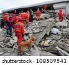 VAN, TURKEY - NOV 10: After the earthquake in Van, rescue teams are searching for earthquake victims with the help of rescue dogs. Van, Turkey. November 10, 2011 - stock photo