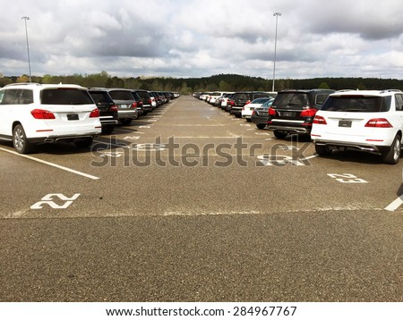 VANCE, AL-MAY, 2015:  Mercedes Benz vehicles at the factory waiting to be delivered to the dealership.   - stock photo
