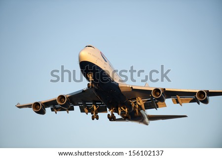 VANCOUVER AIRPORT - OCT. 6: Boeing 747 British Airways just before landing. British Airways are one of the oldest airlines and rated top 3 biggest in Europe. British Columbia, Canada, October 6, 2012 - stock photo