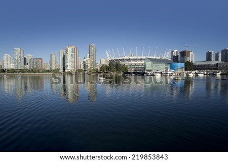 Vancouver and False Creek (October 2014) British Columbia, Canada - stock photo