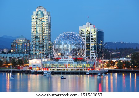 Vancouver at night - stock photo