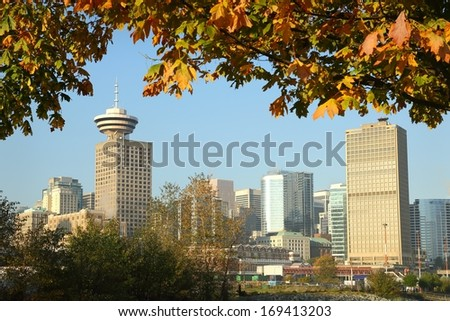 Vancouver Autumn Skyline. The downtown Vancouver skyline on a sunny autumn day. British Columbia, Canada.  - stock photo