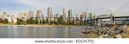 Vancouver BC Canada City Skyline and Burrard Bridge Panorama - stock photo