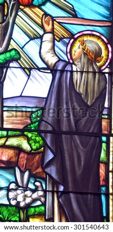 VANCOUVER BC CANADA JUNE 12 2015: Stained glass window of Metropolitan Cathedral of Our Lady of the Holy Rosary is  French Gothic church as the cathedral of the Roman Catholic Archdiocese of Vancouver - stock photo