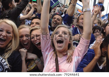 VANCOUVER, BC,CANADA - JUNE 10: Vancouver Canucks celebrate Stanley Cup 2011 Finals Game 5 Vancouver Canucks vs. Boston Bruins on June 10, 2011 in Downtown Vancouver, Canada - stock photo