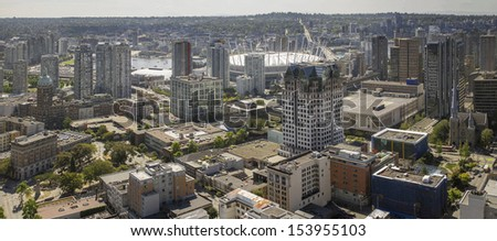 Vancouver BC City Downtown with Cambie Bridge and False Creek Panorama - stock photo