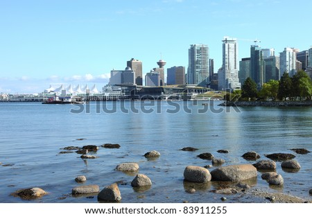 Vancouver BC from Stanley park, Canada. - stock photo