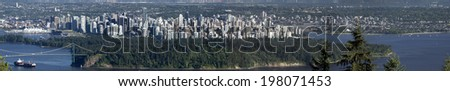 Vancouver BC panoramic view from Cypress, June 14 (2.4 metres wide picture) - stock photo