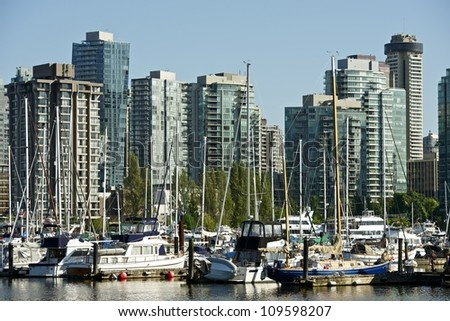 Vancouver, British Columbia, Canada. Vancouver Skyline. Canadian Cities Photo Collection. - stock photo