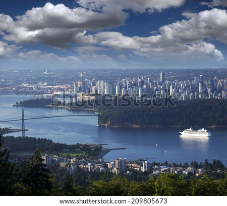 Vancouver - Burrard Inlet and Stanley Park with a cruise ship - stock photo