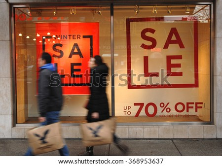 VANCOUVER, CANADA - DECEMBER 26, 2012: In keeping with tradition, thousands of customers shop for bargains on Boxing Day on Dec.26, 2012 in Vancouver, Canada. - stock photo
