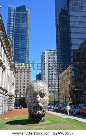 VANCOUVER, CANADA - JULY 27: Douglas Coupland's Head  at Vancouver Art Gallery on July 27 , 2014 in Vancouver, Canada. Gallery is 5th largest art gallery in Canada and largest in Western Canada. - stock photo